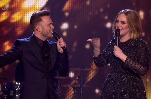 Olly Murs speaking to Adele after she had performed 'Hello' on the results show for the final of 'The X Factor'. Broadcast on ITV1 HD, 13 December 2015