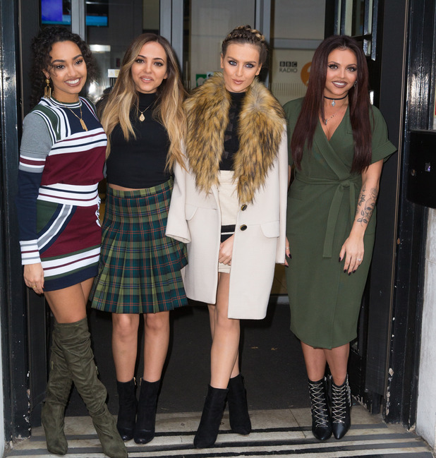 Little Mix pictured arriving at the Radio 2 studio in London, 18th December 2015