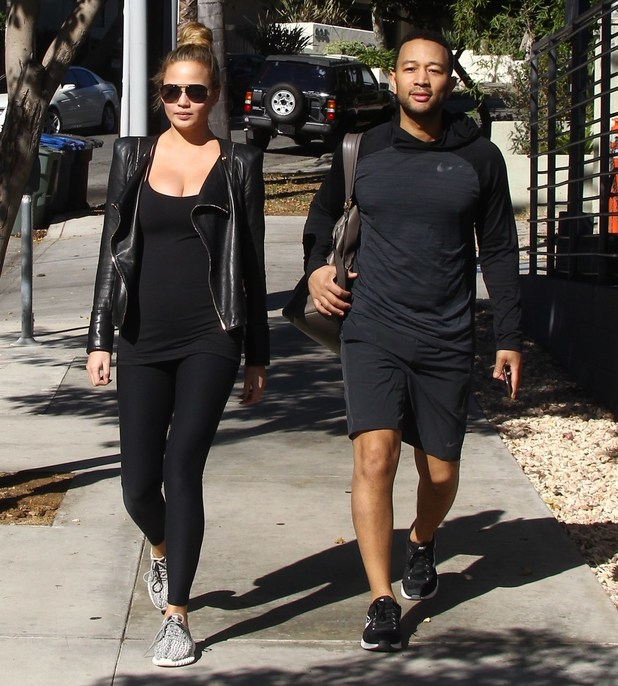 Pregnant Chrissy Teigen and John Legend out shopping at Chloe in Beverly Hills, 15th December 2015