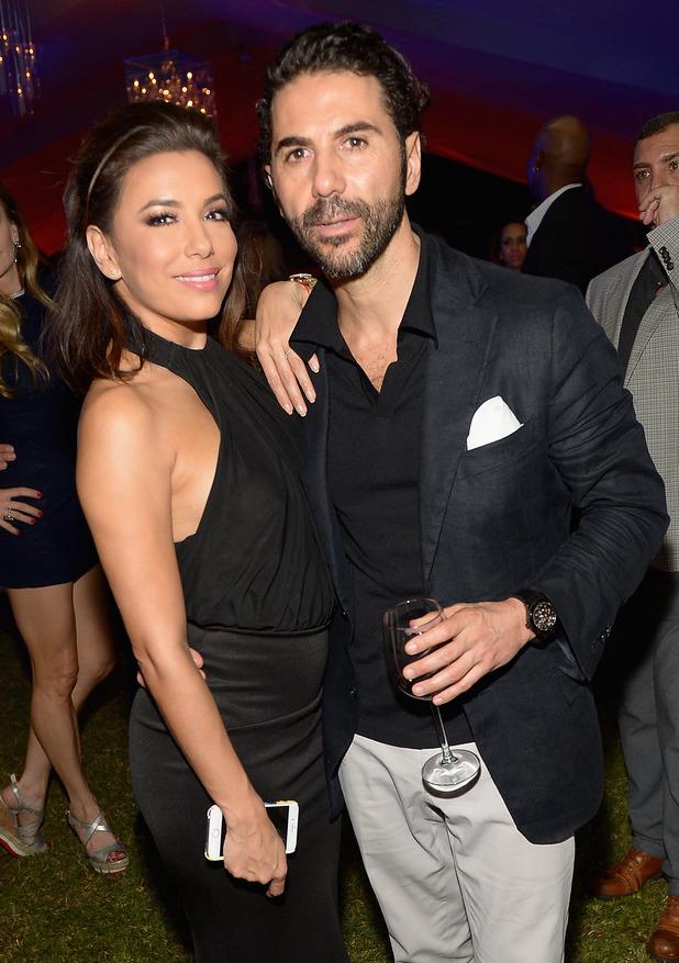 Eva Longoria and Jose Antonio Baston at SHOP.com celebration of art. 5 December 2015.