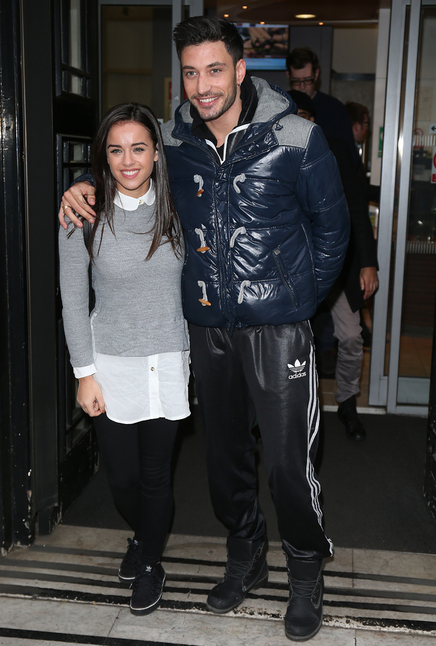 Georgia May Foote and Giovanni Pernice seen at BBC Radio 2  in London, England on December 16, 2015.