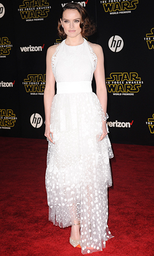 """Daisy Ridley World Premiere of """"Star Wars: The Force Awakens"""" at the Dolby, El Capitan, and TCL Theatres on December 14, 2015 in Hollywood, California."""