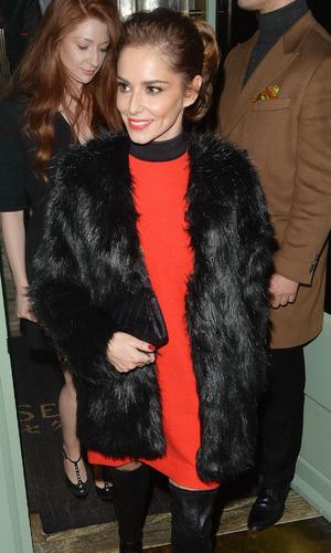 X Factor judge Cheryl Fernandez-Versini on night out at Sexy Fish restaurant in Mayfair, London, 22nd December 2015