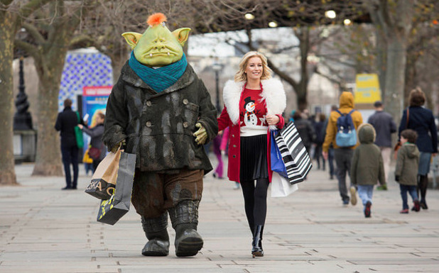 Fungus the Bogeyman spotted on festive shopping trip with TV star Denise Van Outen. 21 December 2015.