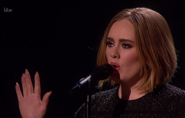 Adele performing 'Hello' on the results show for the final of 'The X Factor'. Broadcast on ITV1 HD, 13 December 2015