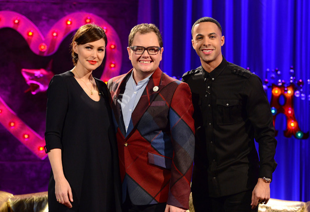 Emma Willis, Marvin Humes appears on Alan Carr: Chatty Man Christmas special - 25 December 2015.