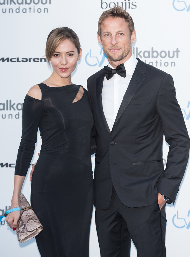 Jenson Button and wife Jessica Michibata at the Walkabout Foundation's Inaugural Gala. 27 June 2015.