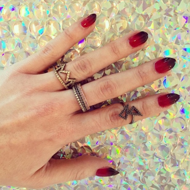 Rosie Fortescue rocks red ombre nails for new year's eve, by Stephanie Staunton, 31 December 2015