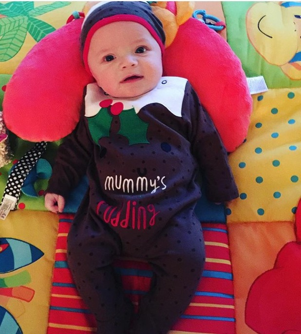 Carter Bridge in Christmas pudding outfit from Frankie Bridge's Instagram, 25/12/15