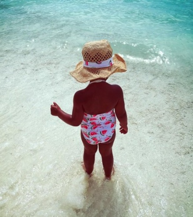 Rochelle Humes shares pictures of Alaia-Mai and Marvin on holiday, 30 December 2015
