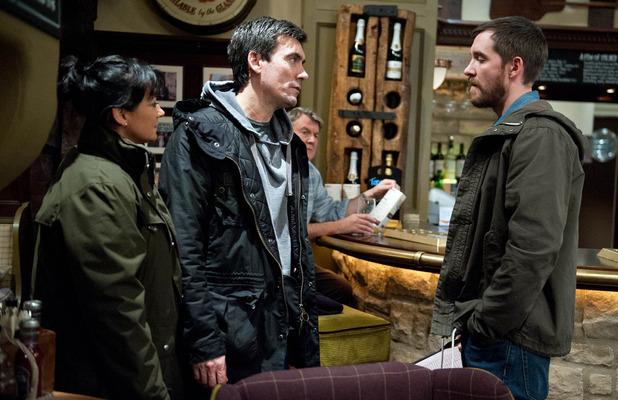 Emmerdale, Cain confronts Pete, Tue 12 Jan