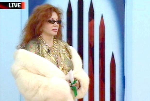 Jackie Stallone enters the Celebrity Big Brother house. 2005.