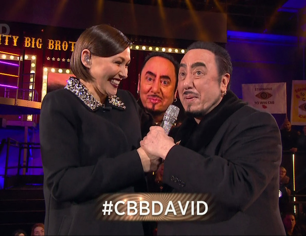 Celebrities enter the big brother house during 'Celebrity Big Brother Launch'. Broadcast on Channel 5 HD Emma Willis talks to David Gest