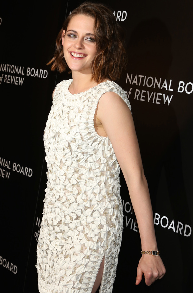 Kristen Stewart reveals side split in white dress at National Board of Review Gala at Cipriani 42nd.St, New York, 6th January 2016