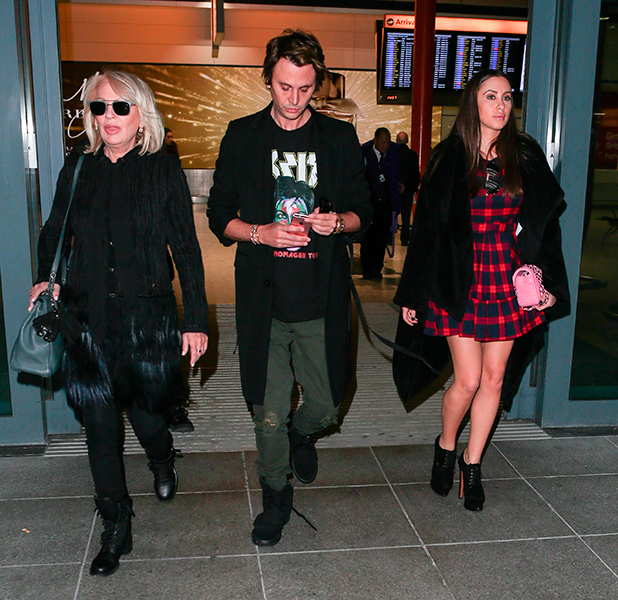 Jonathan Cheban arrives at Heathrow Airport with his mother Galina and girlfriend Anat Popovsky ahead of his appearance on 'Celebrity Big Brother'
