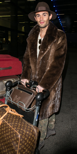 Mark-Francis Vandelli arrives at Gatwick Airport ahead of his appearance on The Jump, 17 January 2016.