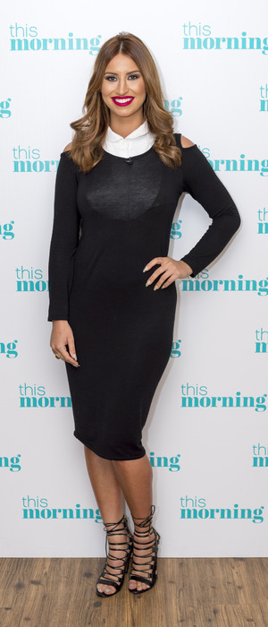 Ferne McCann presenting This Morning's showbiz news at ITV Studios in London, 12th January 2016