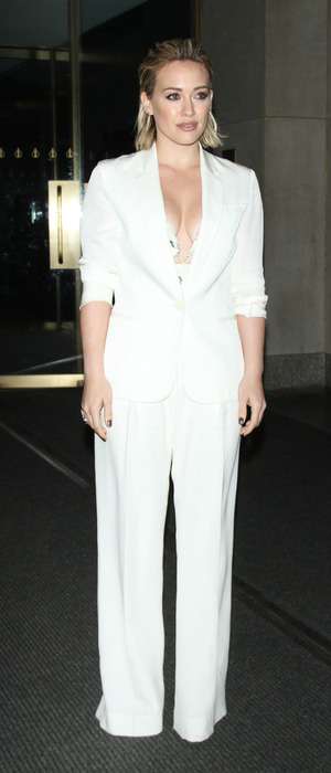 Hilary Duff attends The Today Show in New York City wearing all-white suit, 12th January 2016