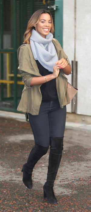 Rochelle Humes spotted out and about in London wearing khaki parka jacket, 14th January 2016