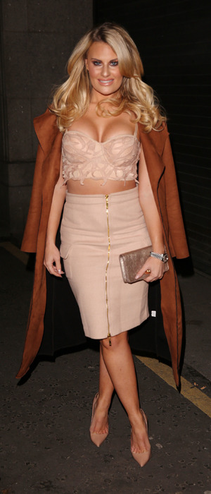 TOWIE's Danielle Armstrong wears revealing co-ords to Britain's Next Top Model Launch Party in London, 15th January 2016