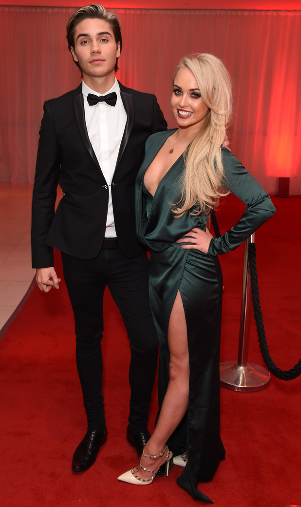George Shelley and Jorgie Porter attend E!'s Live From The Red Carpet Golden Globes Watch Along Party held at St Martin's Lane Hotel on January 10, 2016 in London, England.