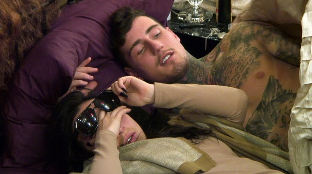 CBB: Stephanie Davis and Jeremy cuddle in bed. 11 January 2016.