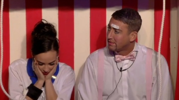 CBB: Stephanie Davis and Christopher Maloney in puppet task. 12 January 2016.