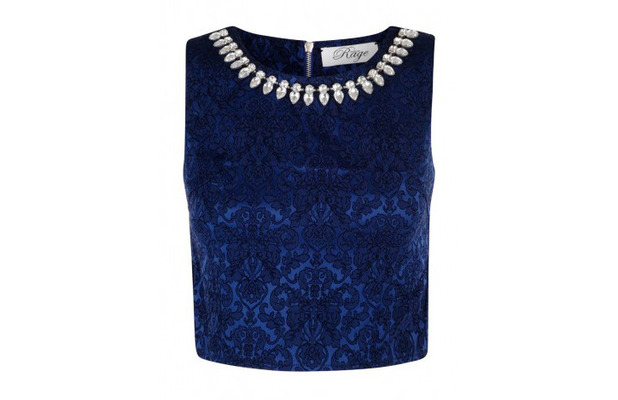 Madam Rage jacquard print co-ordinate top, royal blue with embellished trim, £12, 15th January 2016