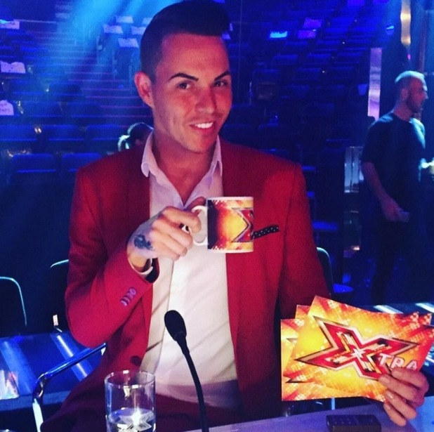 Bobby Norris sitting in the X Factor judges chair following an appearance on Xtra Factor. December 2015.