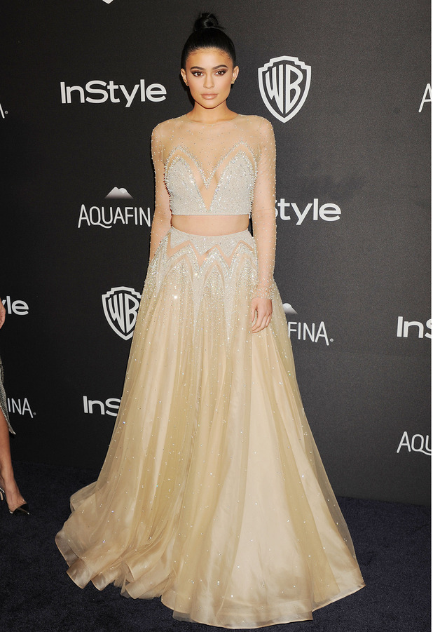 Kylie Jenner wears caramel coloured dress to the InStyle and Warner Bros Golden Globes Awards in Los Angeles, 11th January 2016
