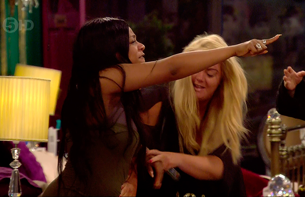 Tiffany Pollard during Megan McKenna's tirade directed at her and John Partridge on 'Celebrity Big Brother'. Broadcast on Channel 5 HD.