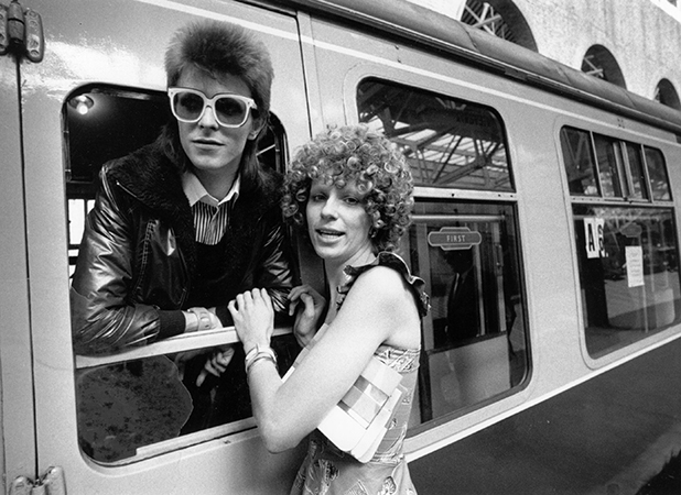 Pop singer David Bowie is seen off at the station by his wife Angie. (Photo by Smith/Express/Getty Images)