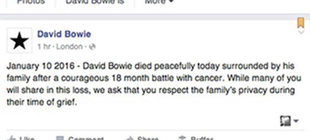 David Bowie's death is announced on Facebook