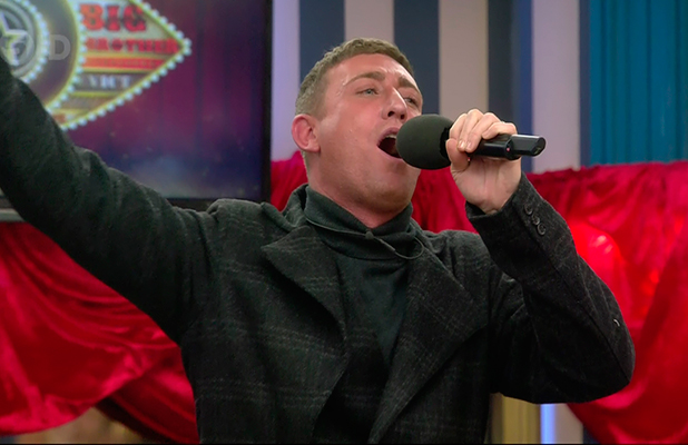 Christopher Maloney performing in the talent show on 'Celebrity Big Brother'. Broadcast on Channel 5 HD.