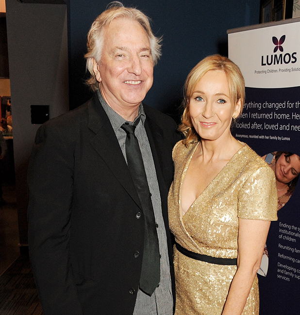 Alan Rickman (L) and J.K. Rowling attend the Lumos fundraising event hosted by J.K. Rowling at The Warner Bros. Harry Potter Tour on November 9, 2013 in London, England. (Photo by David M. Benett/Getty Images for Lumos)