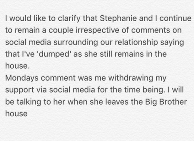 Sam Reece issues statement after withdrawing CBB support from Stephanie Davis 12 January 2015