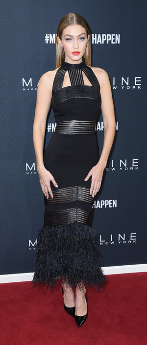 Gigi Hadid wears black dress on the red carpet at Berlin Fashion Week, Maybelline New York Make-Up Show in Berlin, 19th January 2016
