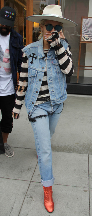 Rita Ora wearing stripes and denim on Rodeo Drive in Los Angeles, 20th January 2016