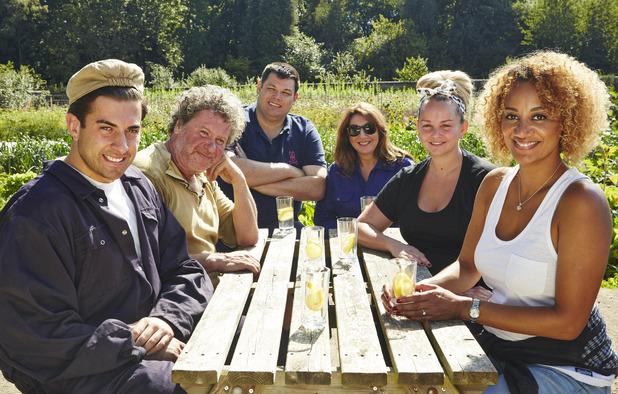 ITV's Sugar Free Farm. (L-R): Mark Labbett, Jennifer Ellison, Tupele Dorgu, Jane McDonald, Rory McGrath and James 'Arg' Argent. 26 January 2016.
