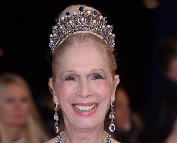 Lady Colin Campbell wears sparkling tiara on the red carpet at the National Television Awards (NTAs) in London, 21st January 2016