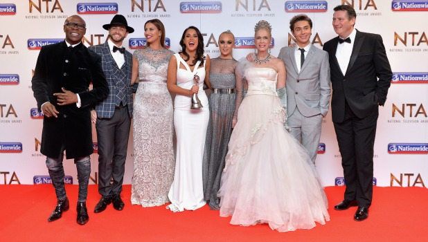 Brian Friedman, Ferne McCann, Vicky Pattison, Chris Eubank, Jorgie Porter, George Shelley, Tony Hadley and Lady Colin Campbell accept the Entertainment award for 'I'm A Celebrity...Get Me Out Of Here!' at the 21st National Television Awards at The O2 Arena on January 20, 2016 in London, England.