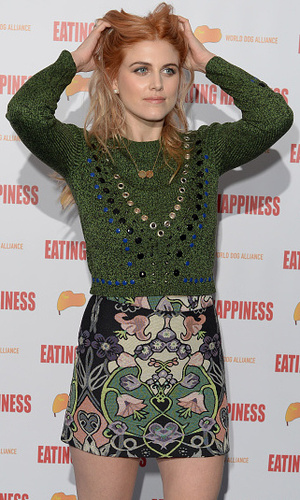 Ashley James shows off new ginger hair at the 'Eating Happiness' VIP screening at the Mondrian Hotel, January 25, 2016 in London, England.