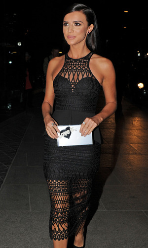 Sunkissed Bronzing ambassador Lucy Mecklenburgh attends the Eating Happiness screening in black dress at the Mondrian Hotel in London, 26th January 2016