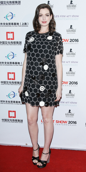 Pregnant Anne Hathaway arrives at the LA Art Show and Los Angeles Fine Art Show's 2016 opening night premiere party benefiting St. Jude Children's Research Hospital held at Los Angeles Convention Center in Los Angeles, California on January 27, 2016