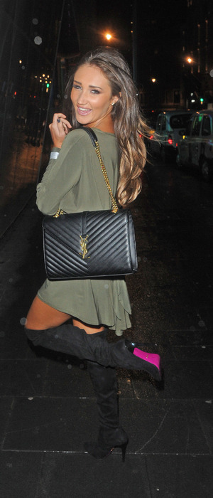 Celebrity Big Brother star Megan McKenna on her way to DSTRKT nightclub after leaving the W Hotel in London, 28th January 2016