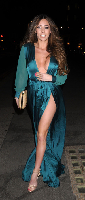 Model Pascal Craymer attends the Steam & Rye party in London, wearing teal dress and no underwear, 29th January 2016