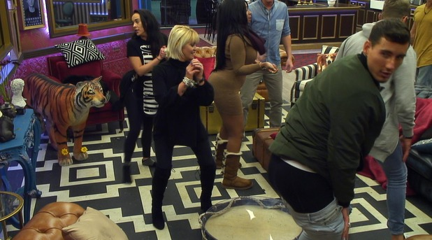 Celebrity Big Brother's Tiffany Pollard teaches the housemates to twerk - day 22. 26 January 2016.