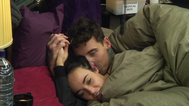 CBB - day 21: Stephanie Davis and Jeremy McConnell cuddle in bed.