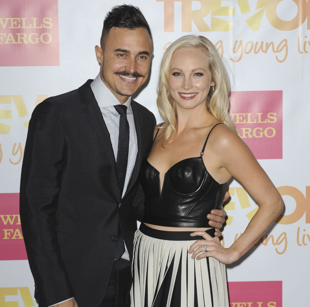 Candice Accola and husband Joe King, LA December 2014