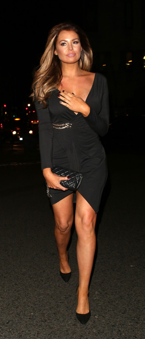 TOWIE star Jess Wright (Jessica Wright) spotted in black dress outside Sexy Fish restaurant in London, 3rd December 2016